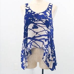 Anthropologie S Silk Nature Print Tank Top Blue